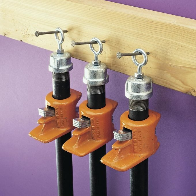 eye hooks to store pipe clamps