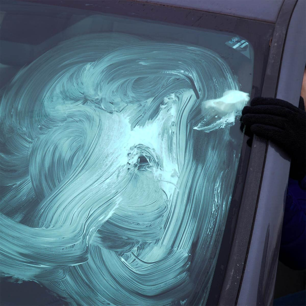 smearing shaving cream inside windshield