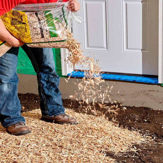 wood chip welcome mat