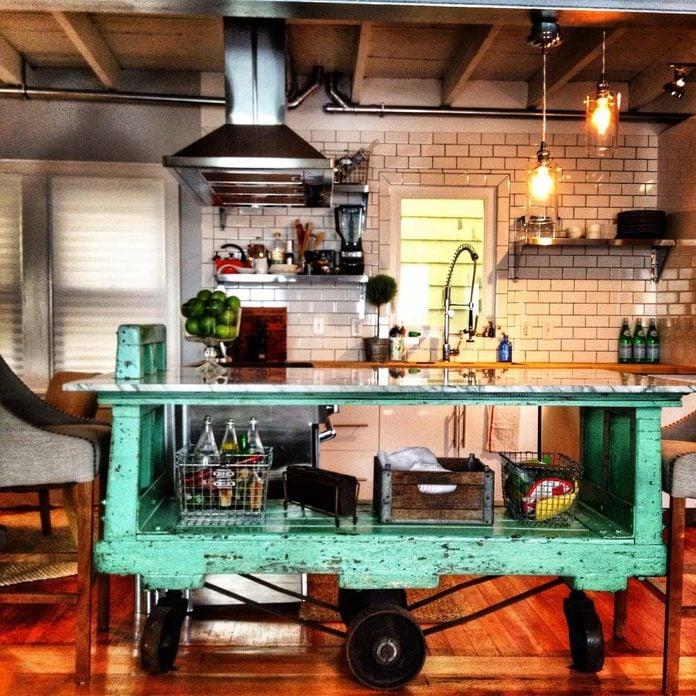 cart island vintage kitchen