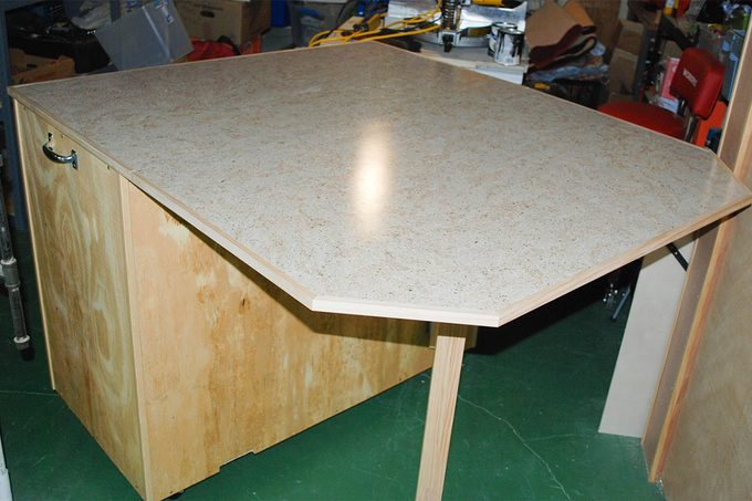 craft table top view of work surface