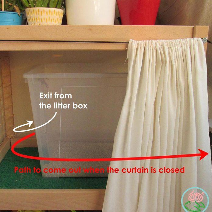 curtain kitty litter box