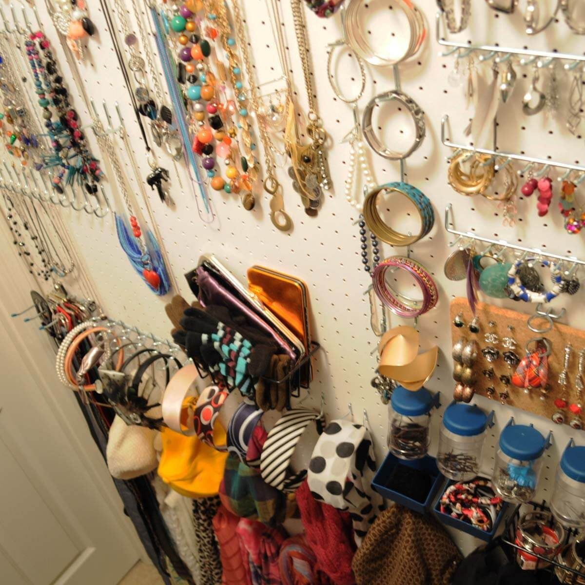 pegboard jewelry closet organization