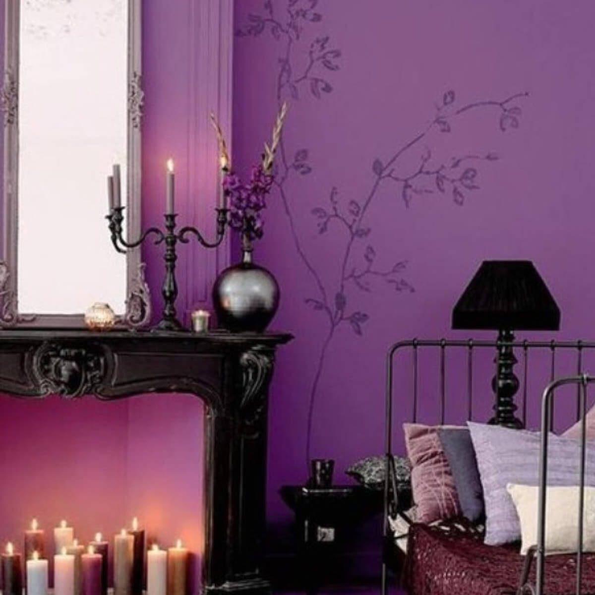 purplewithblack gothic bedroom