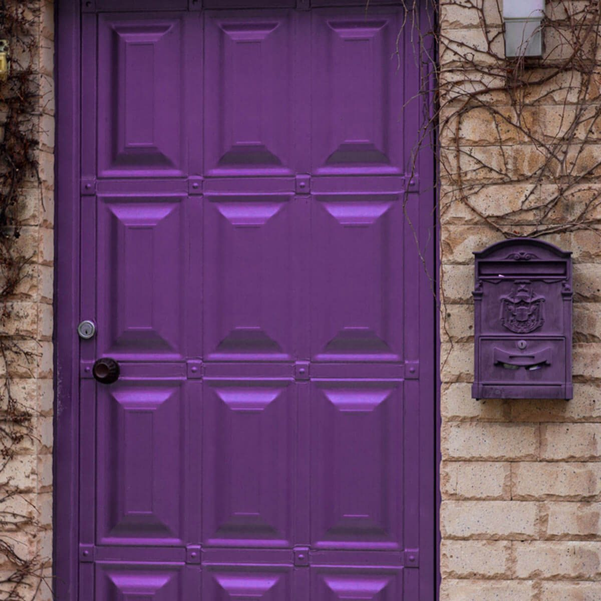 shutterstock_602113925 purple front door brick house & 10 Ideas to Use Pantoneu0027s Ultra-Violet 2018 Color of the Year at ...