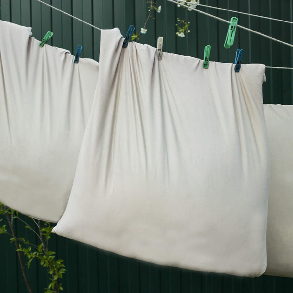 shutterstock_638110546 hang dry laundry pillow cases