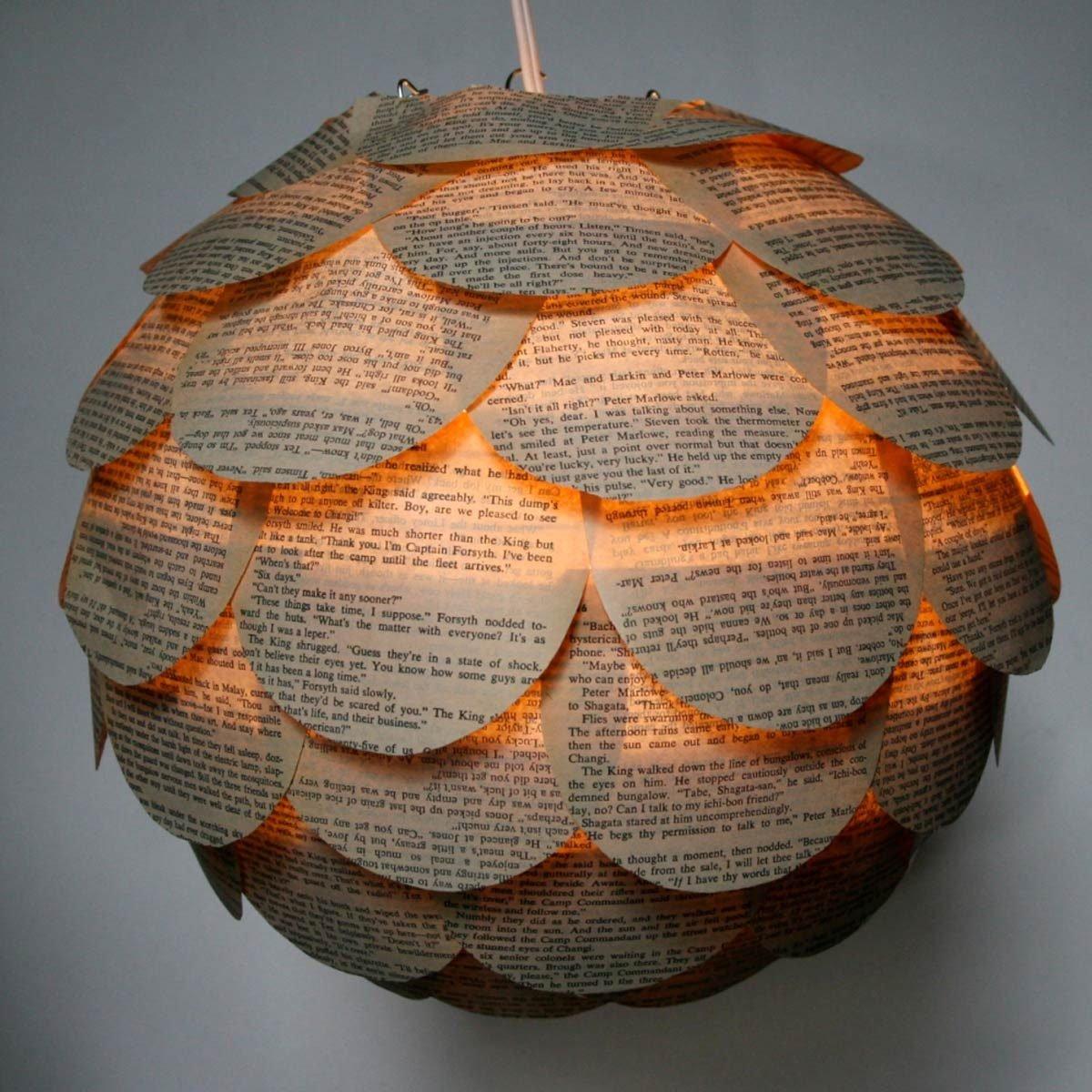 artichoke book pages light pendant lamp