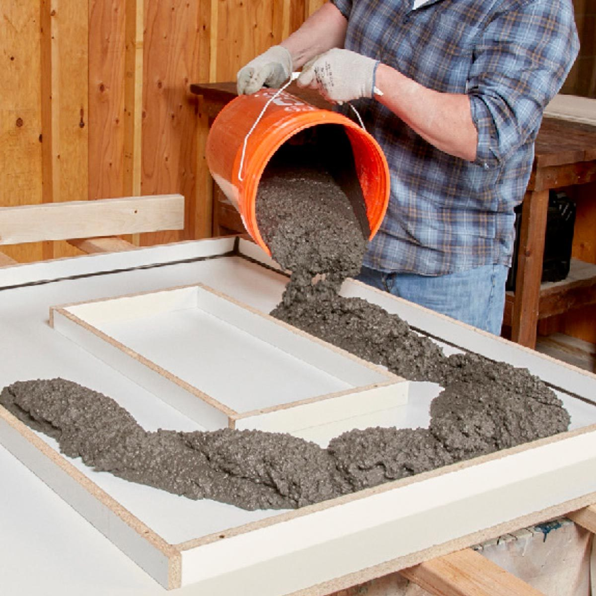 filling concrete form