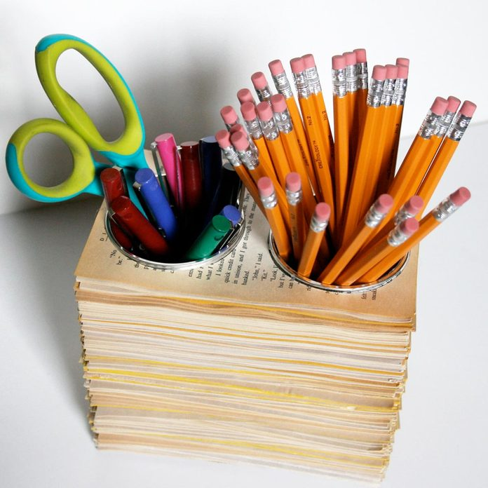 book pages pencil cup