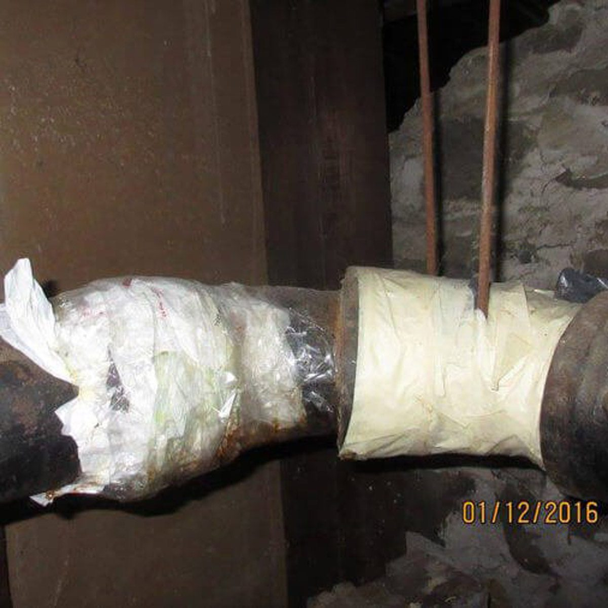 Plastic wrapped plumbing repair