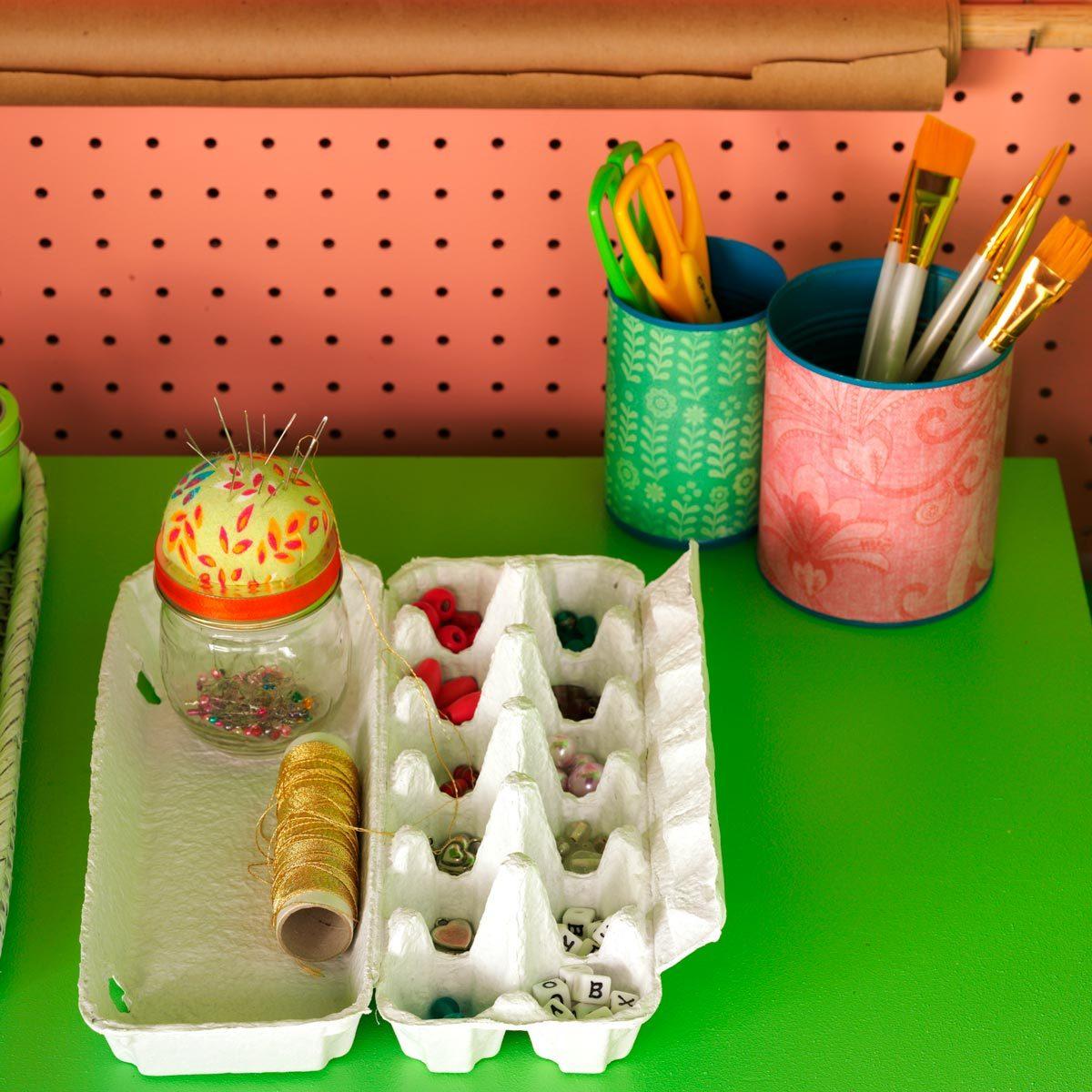 egg carton small objects beads organization
