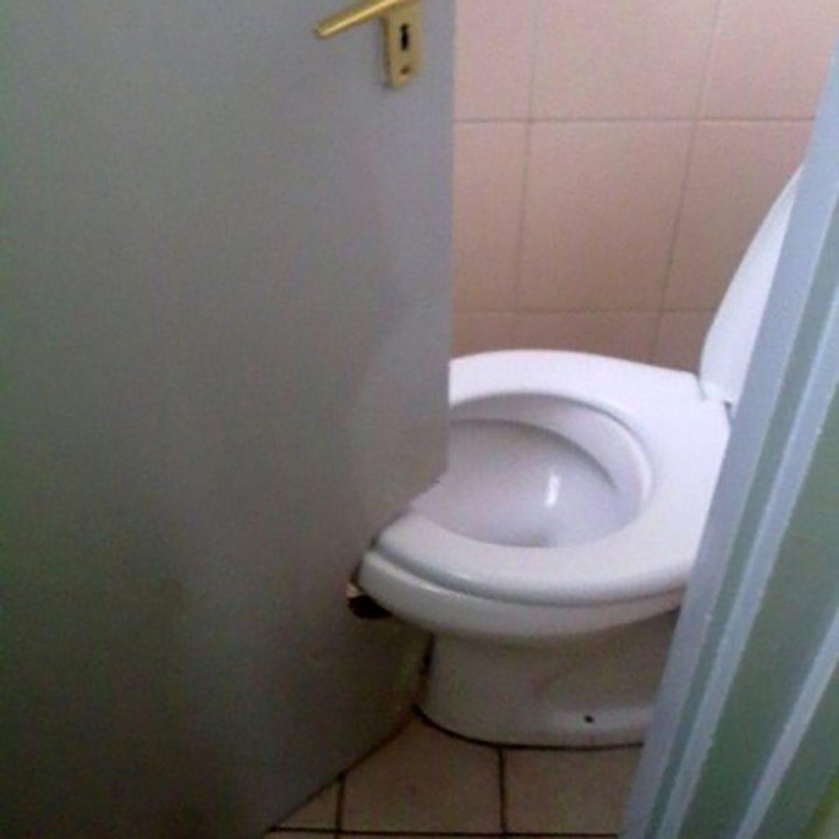 Door cutout for toilet