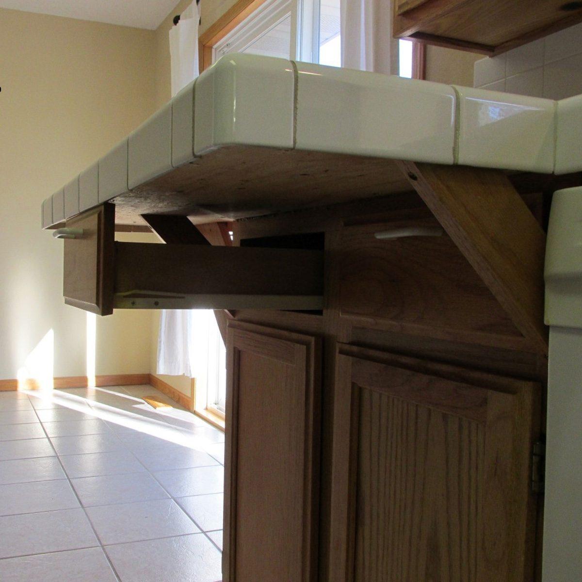 Drawers below countertop