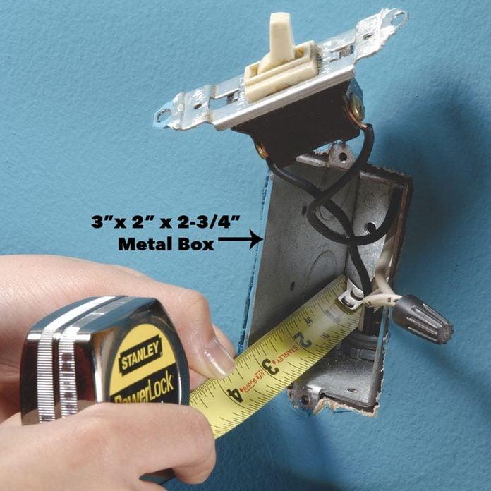 measure inside light switch box