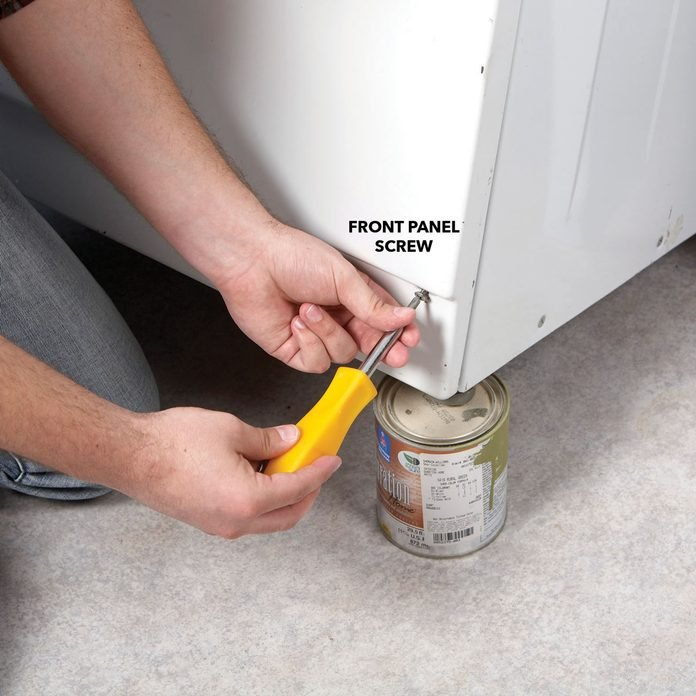 Remove the front panel screws of dishwasher