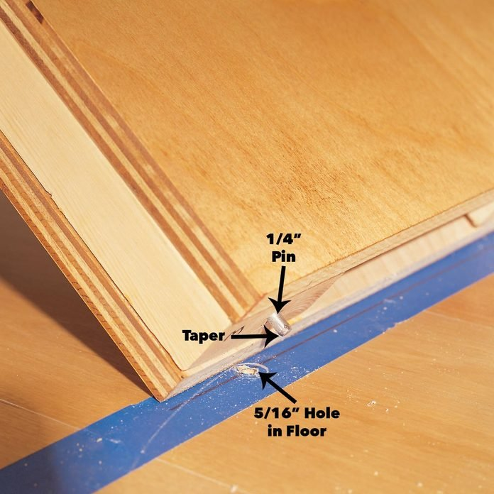 align bookcase pins with holes