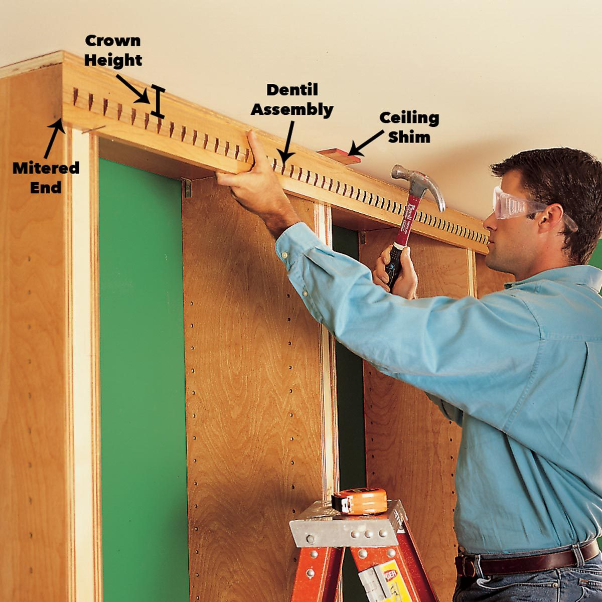 Install the dentil assembly