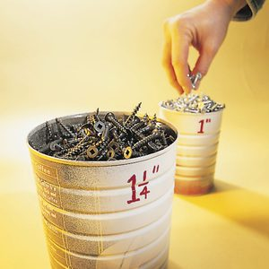 easy to read fastener storage buckets
