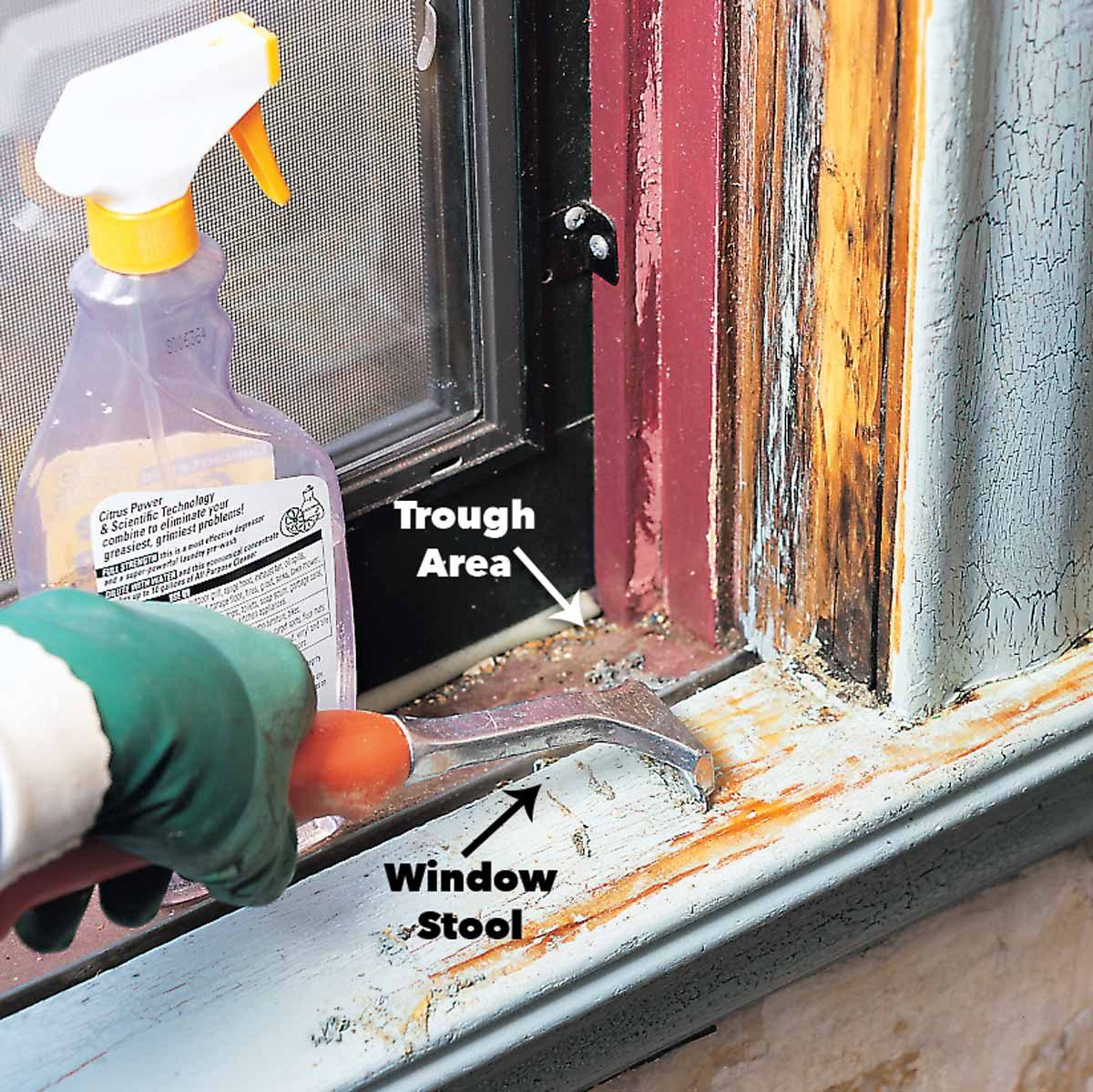 scrape lead paint from window sills
