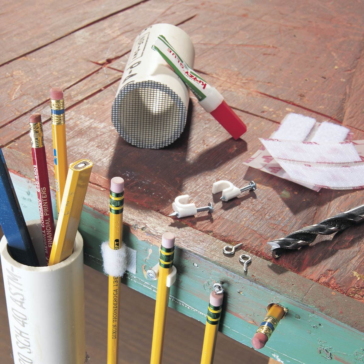 ideas for holding pencils on a workbench