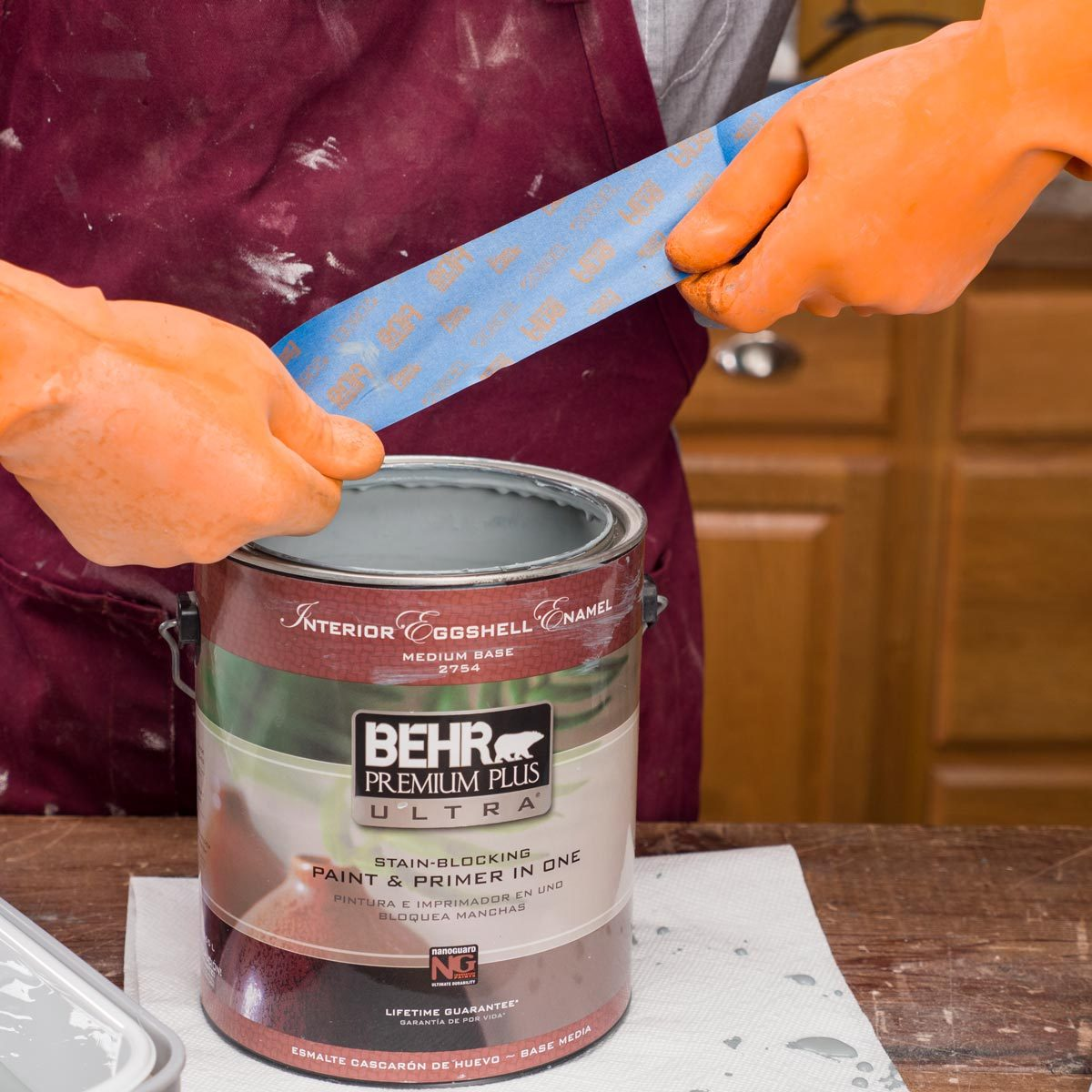 paint bucket painters tape handy hint