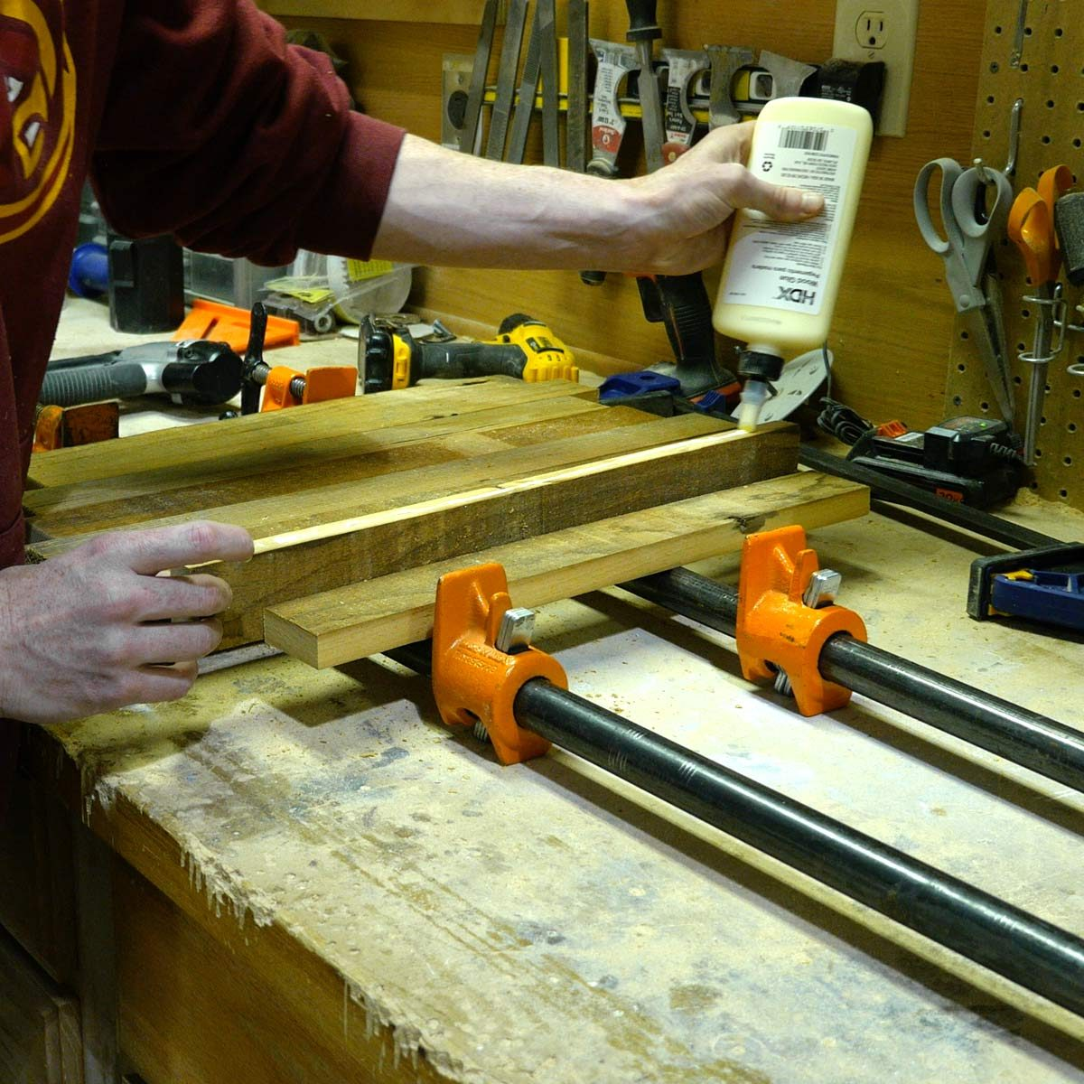 Reclaimed Key Hanger Glue Up Boards