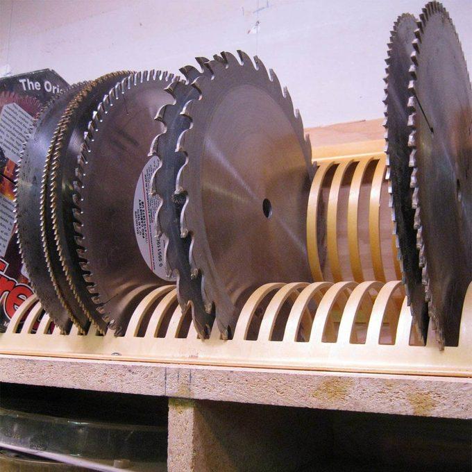 CD rack repurposed into a blade rack