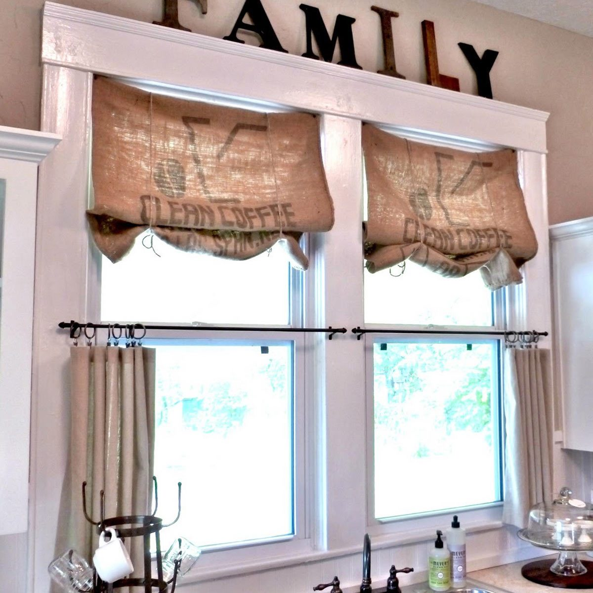 burlap-Curtains window treatments