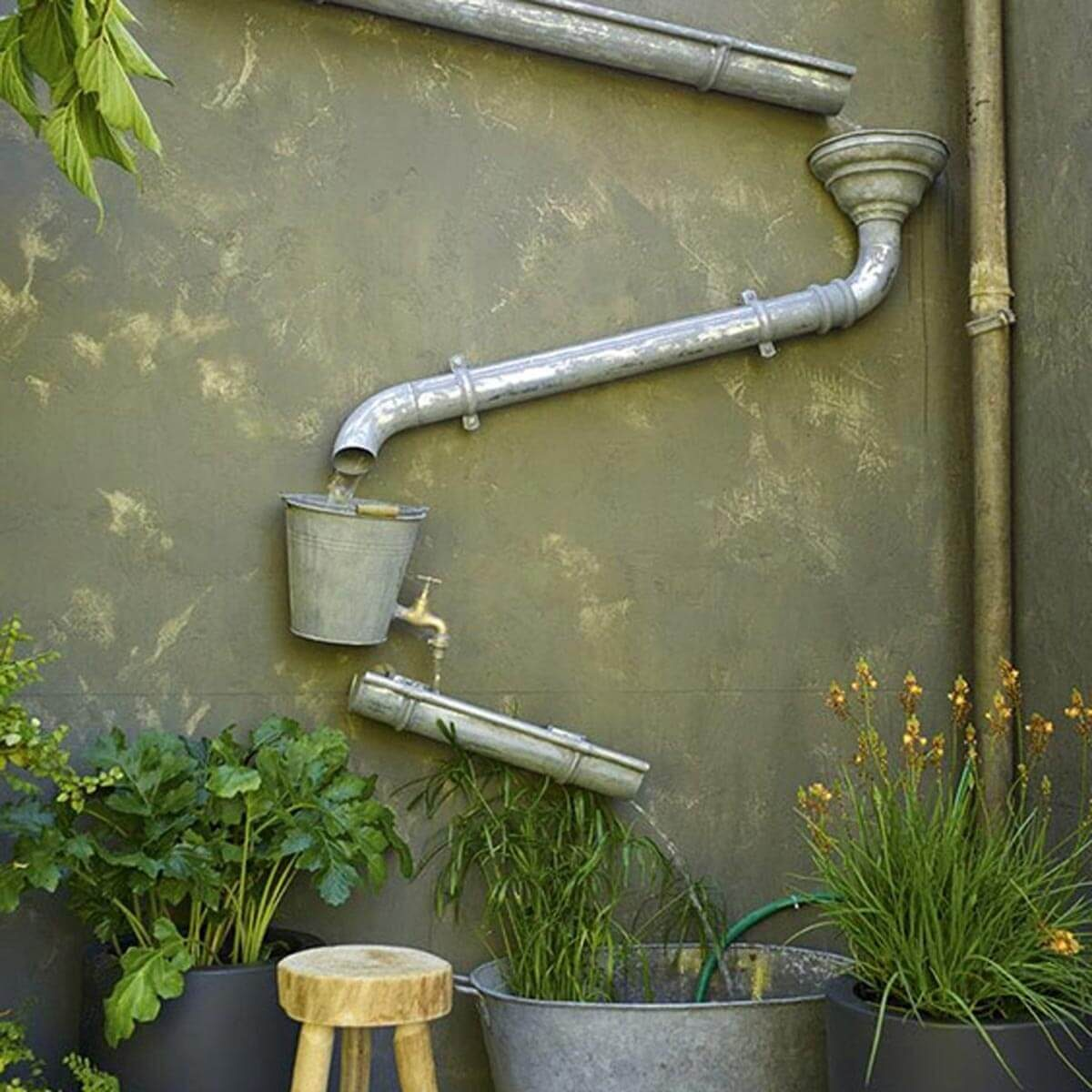 rain gutter water feature