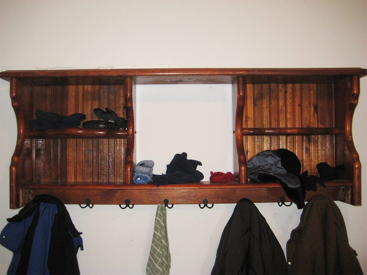 headboard turned into coat rack