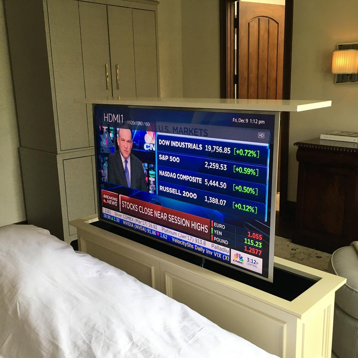 tv hidden in bed frame