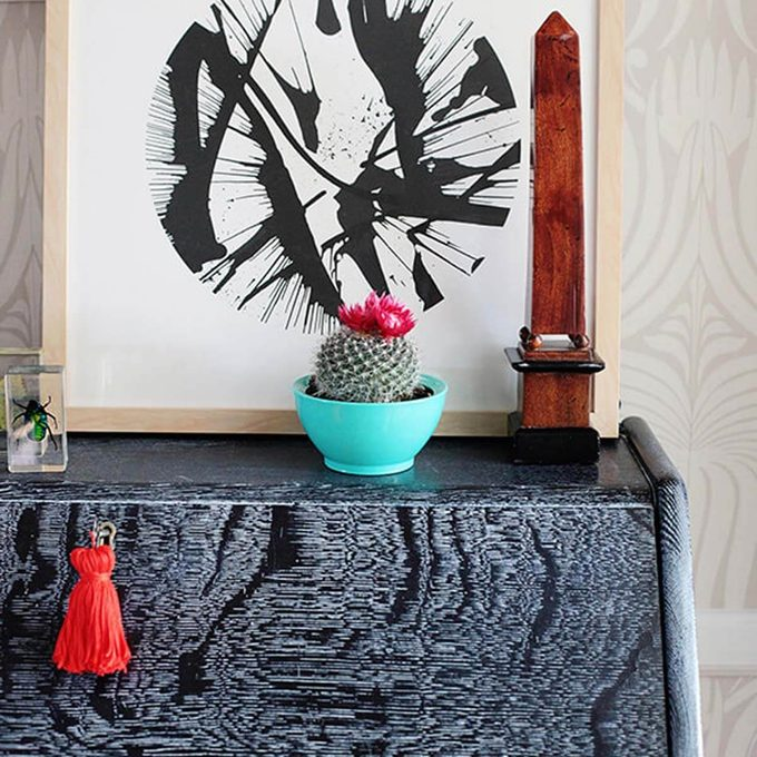 cerused wood desk cactus