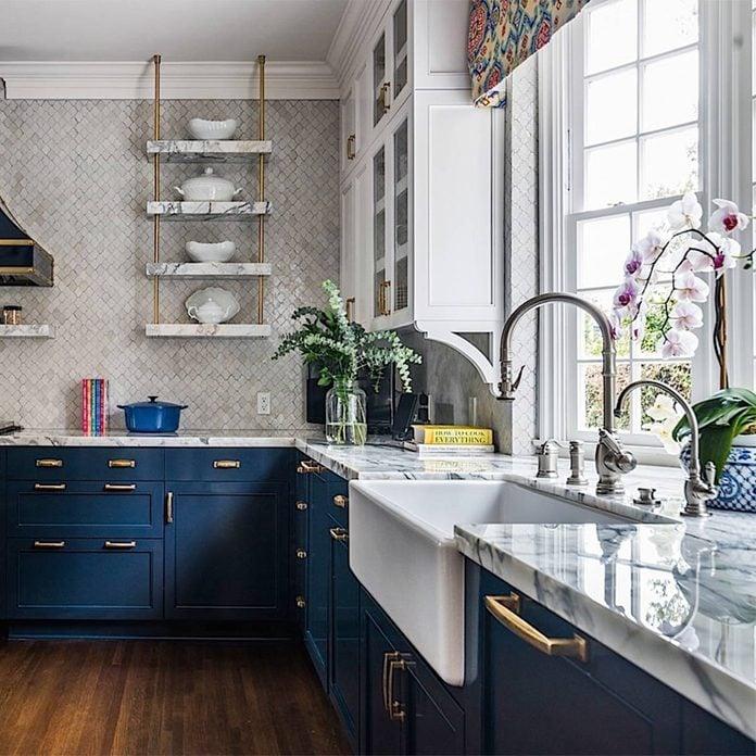 kitchen remodel historical blue cabinets