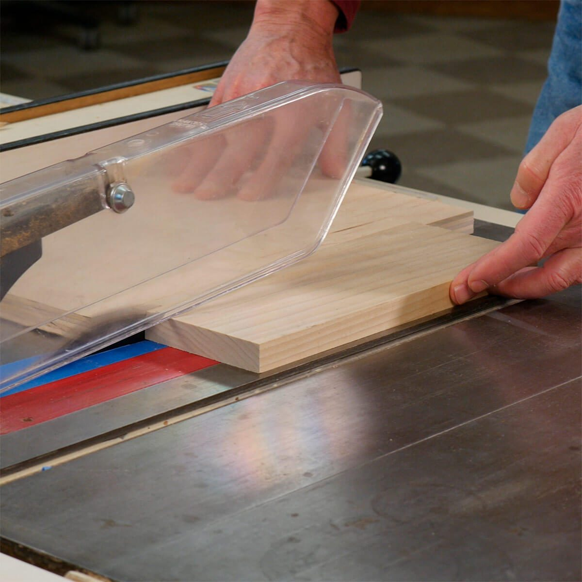 cutting narrow strips on a table saw