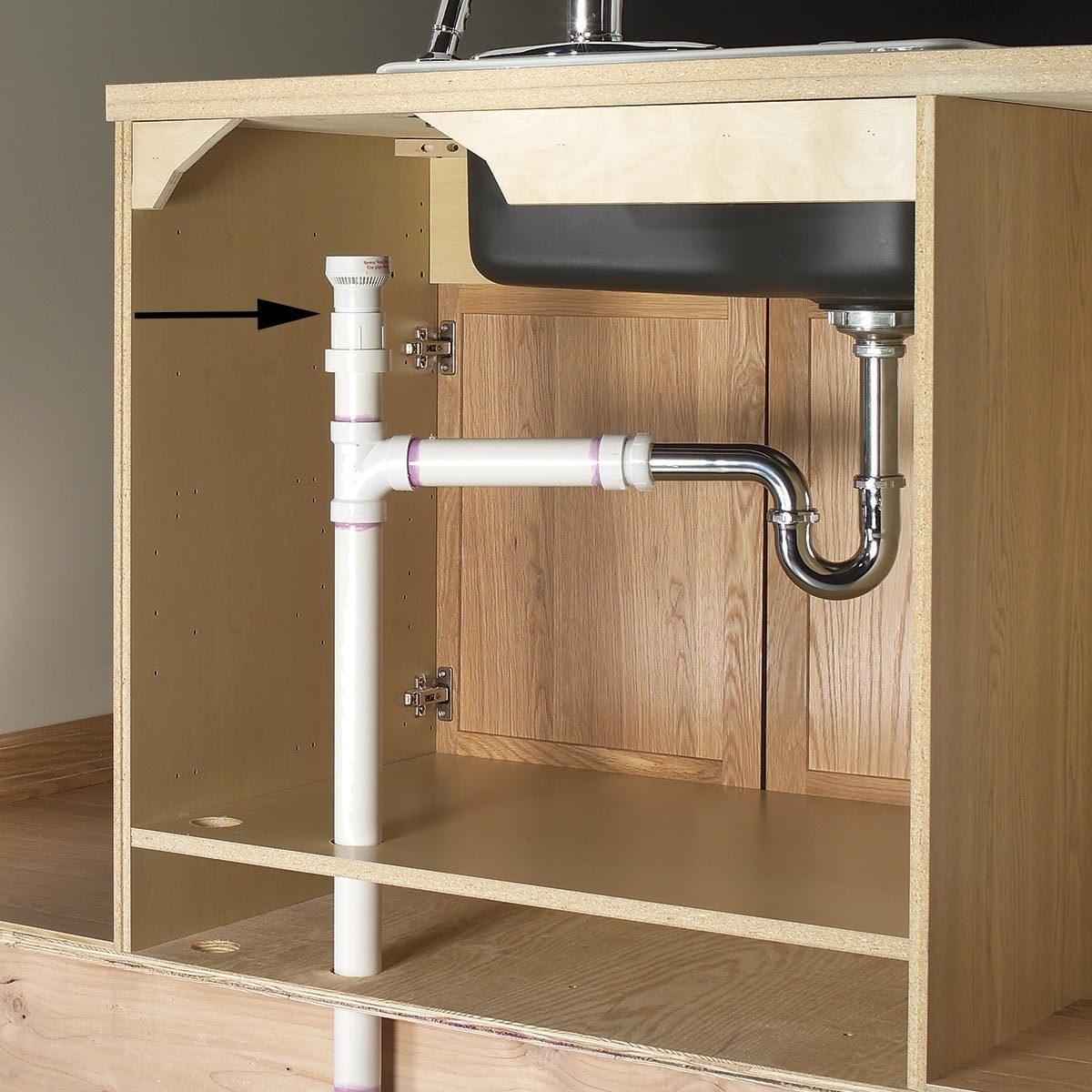 plumbing cutaway under sink