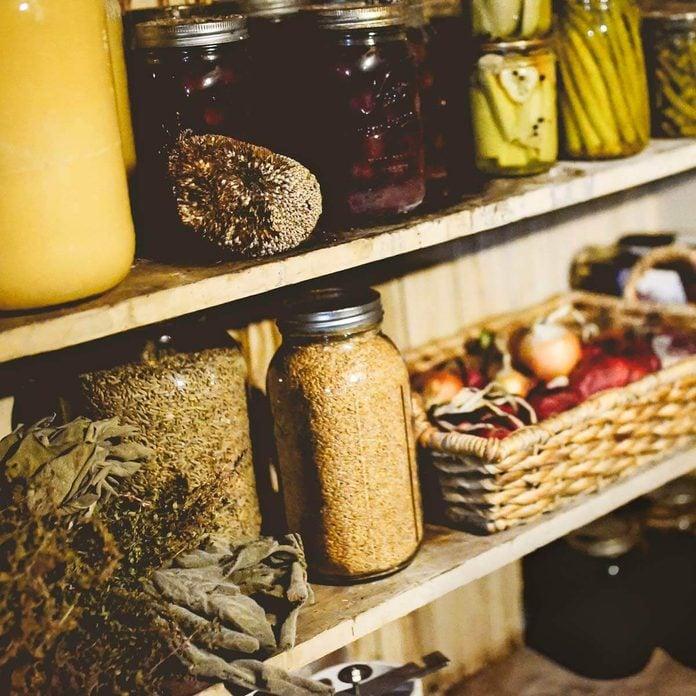 root cellar pickling jars vegetables pantry storage
