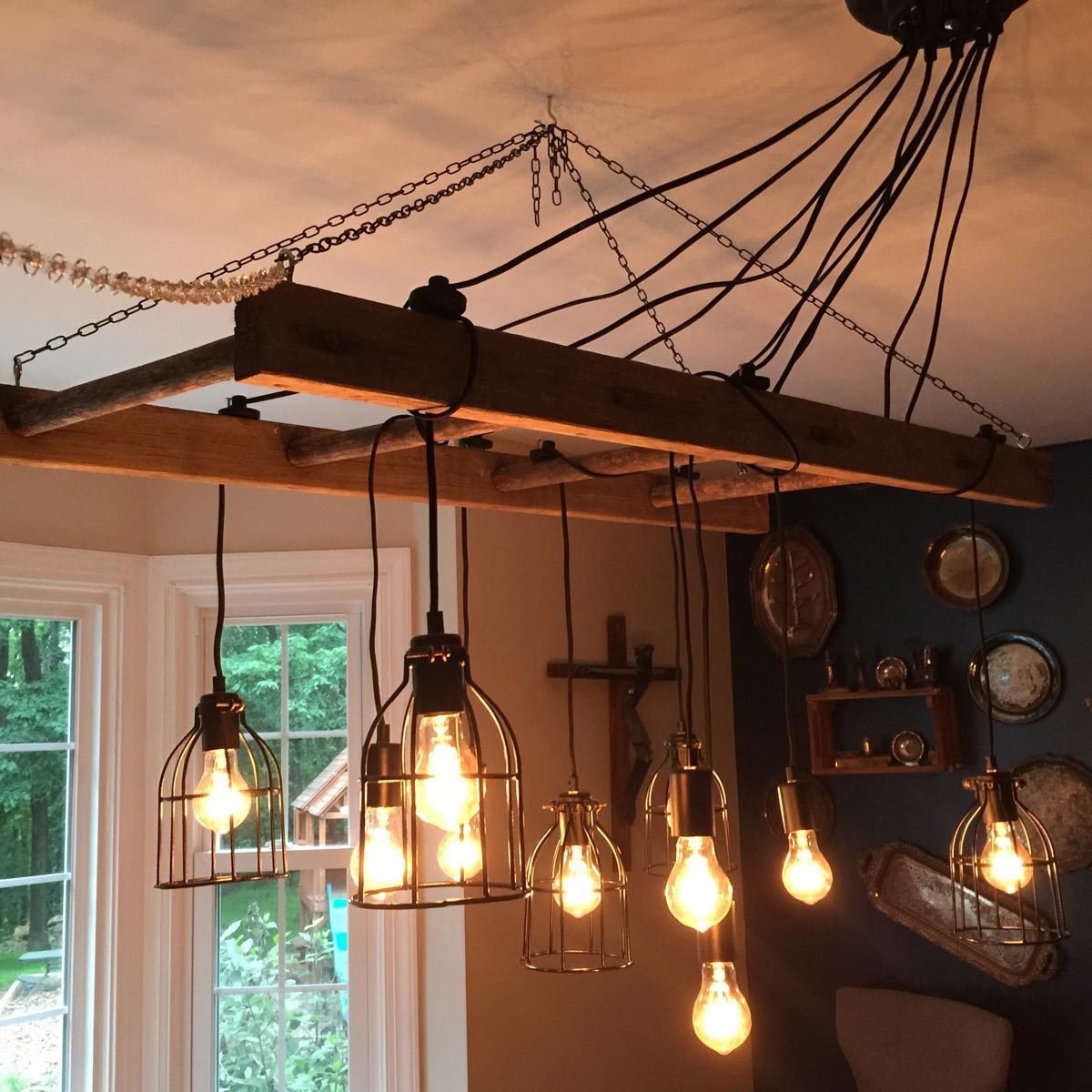 rustic chandelier ladder