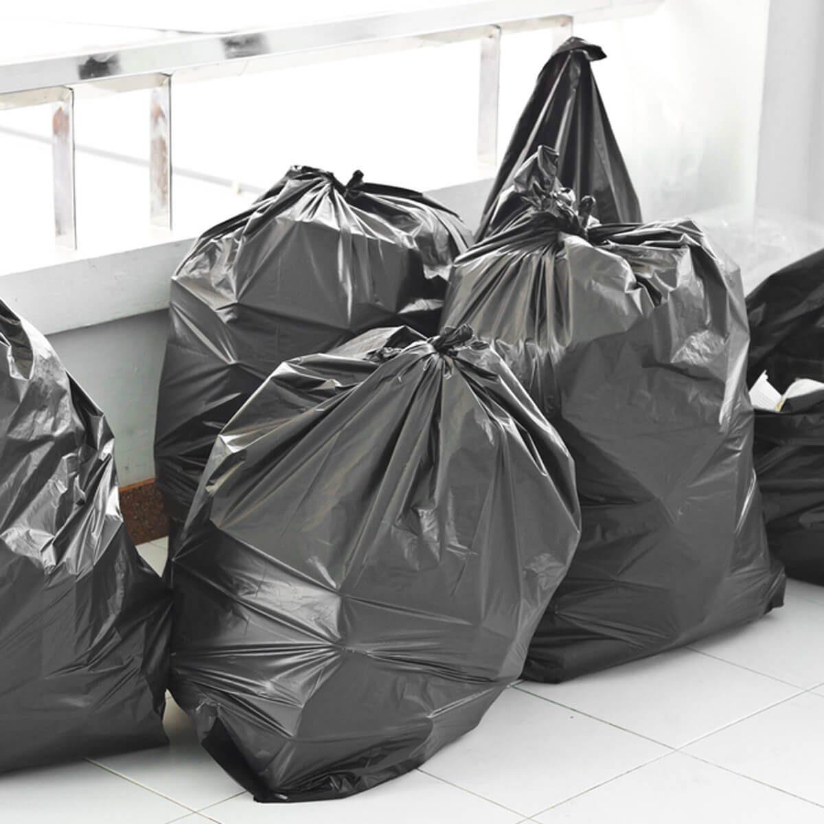 black trash bags