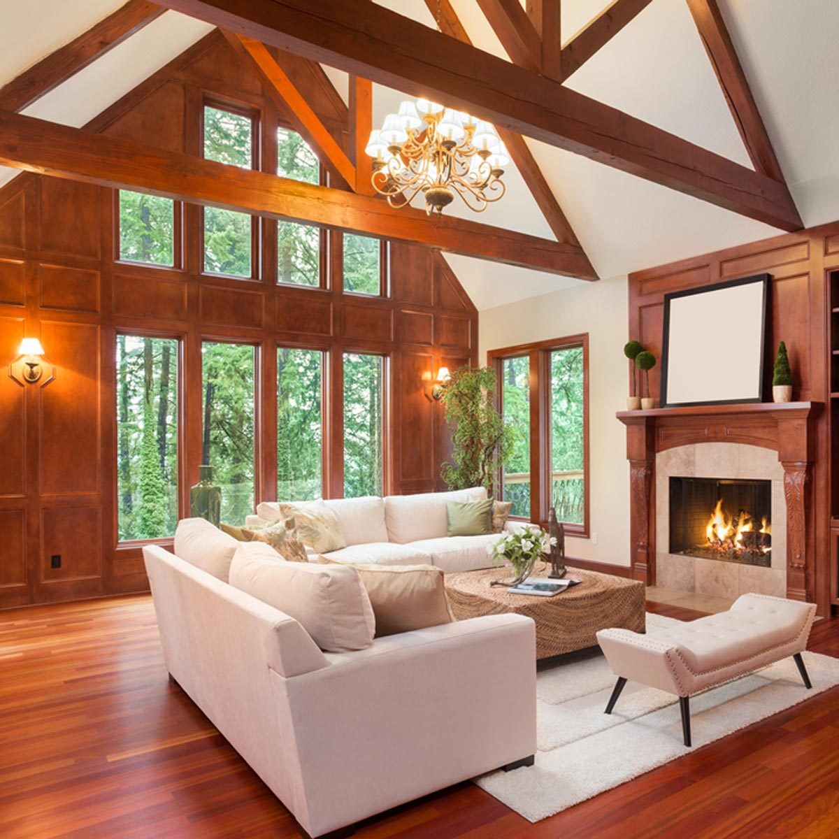 Shutterstock 360087827 wood trim living room with vaulted ceiling