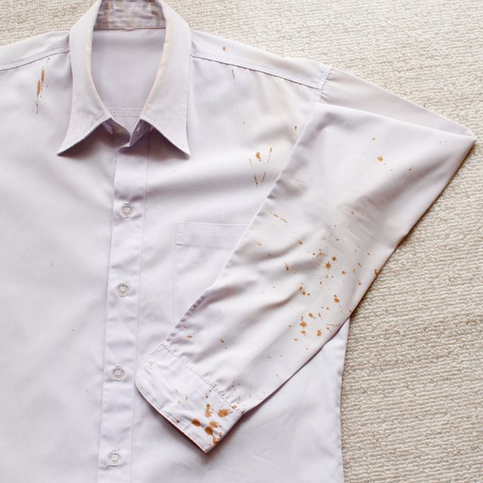 Flammable stain on dress shirt