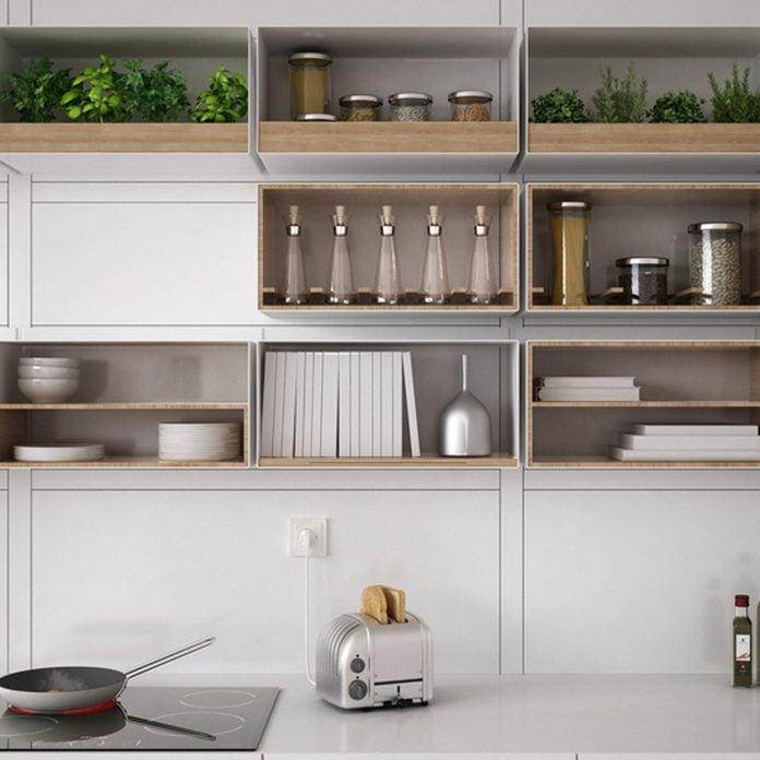 shutterstock_530497795 kitchen open shelving organization
