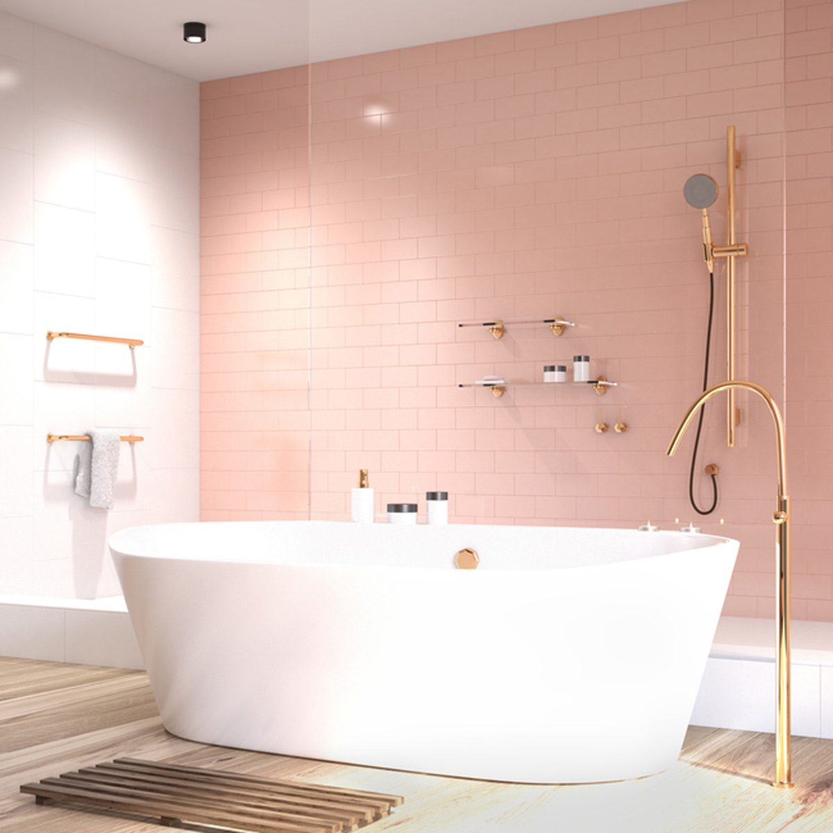 shutterstock_674465893 pink retro bathroom tile bathtub