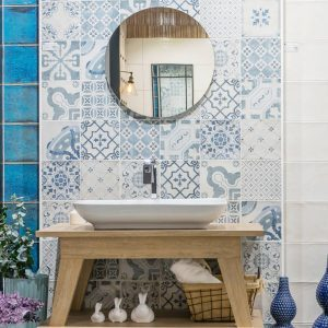 Lovely Blue Ceramic Bathroom Tile
