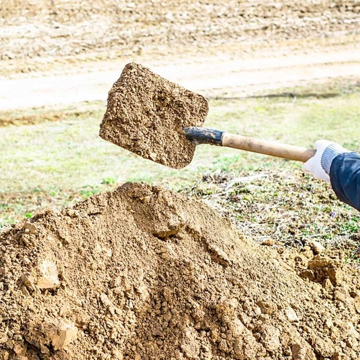 shovel with dirt