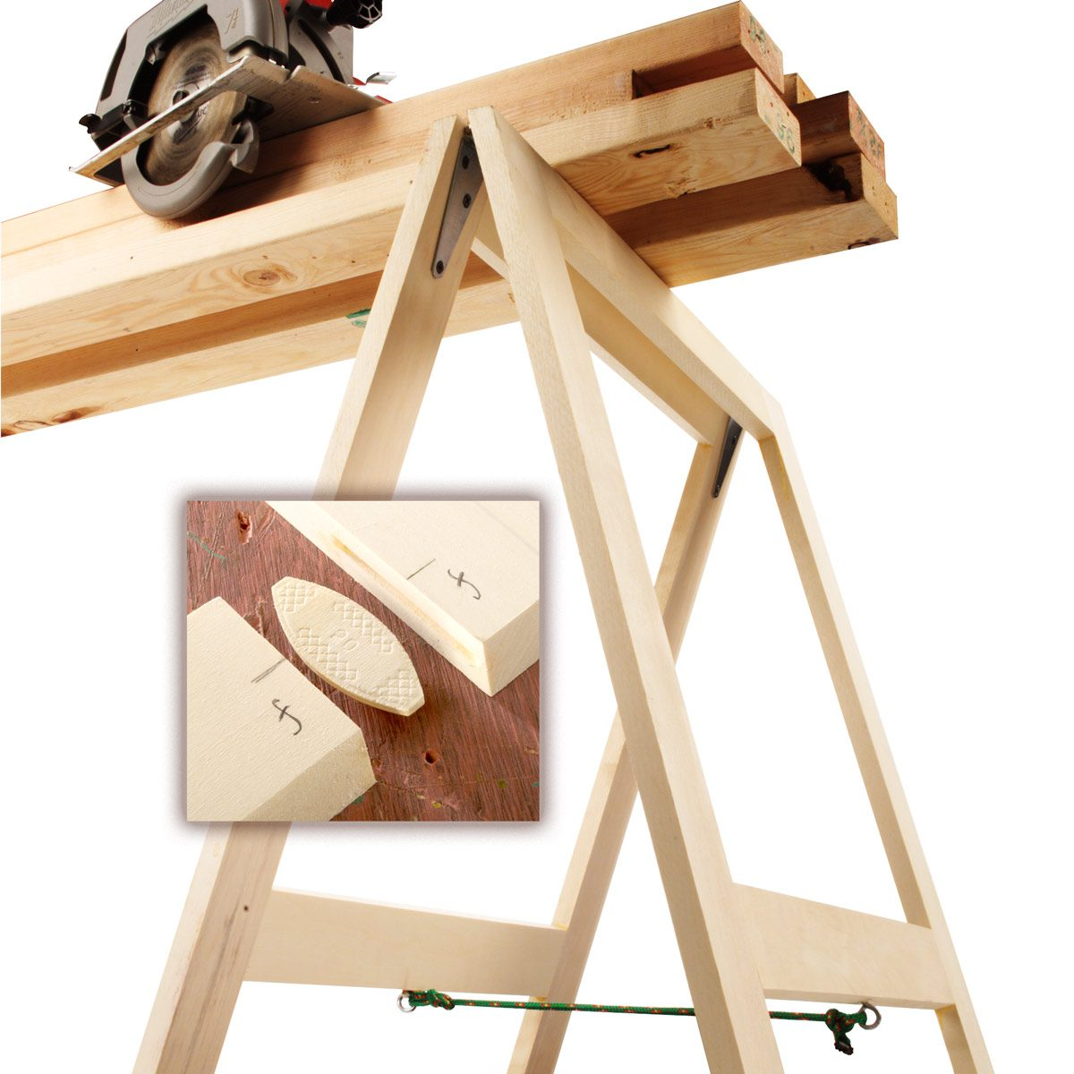 folding sawhorses — workshop tip from the family handyman