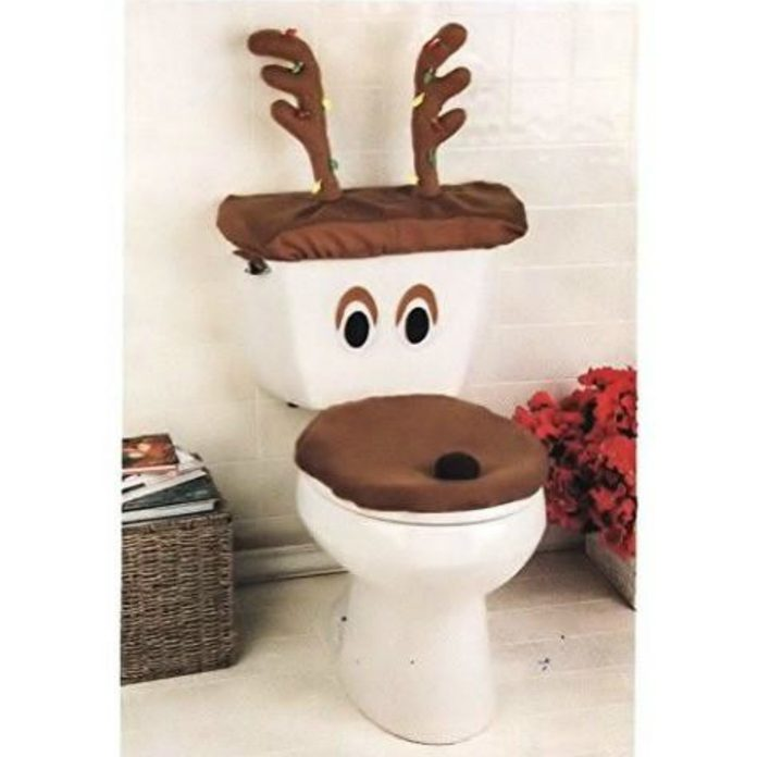 Festive Reindeer Toilet Cover Skymall