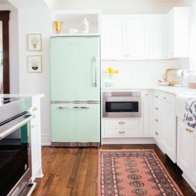 mint green refrigerator
