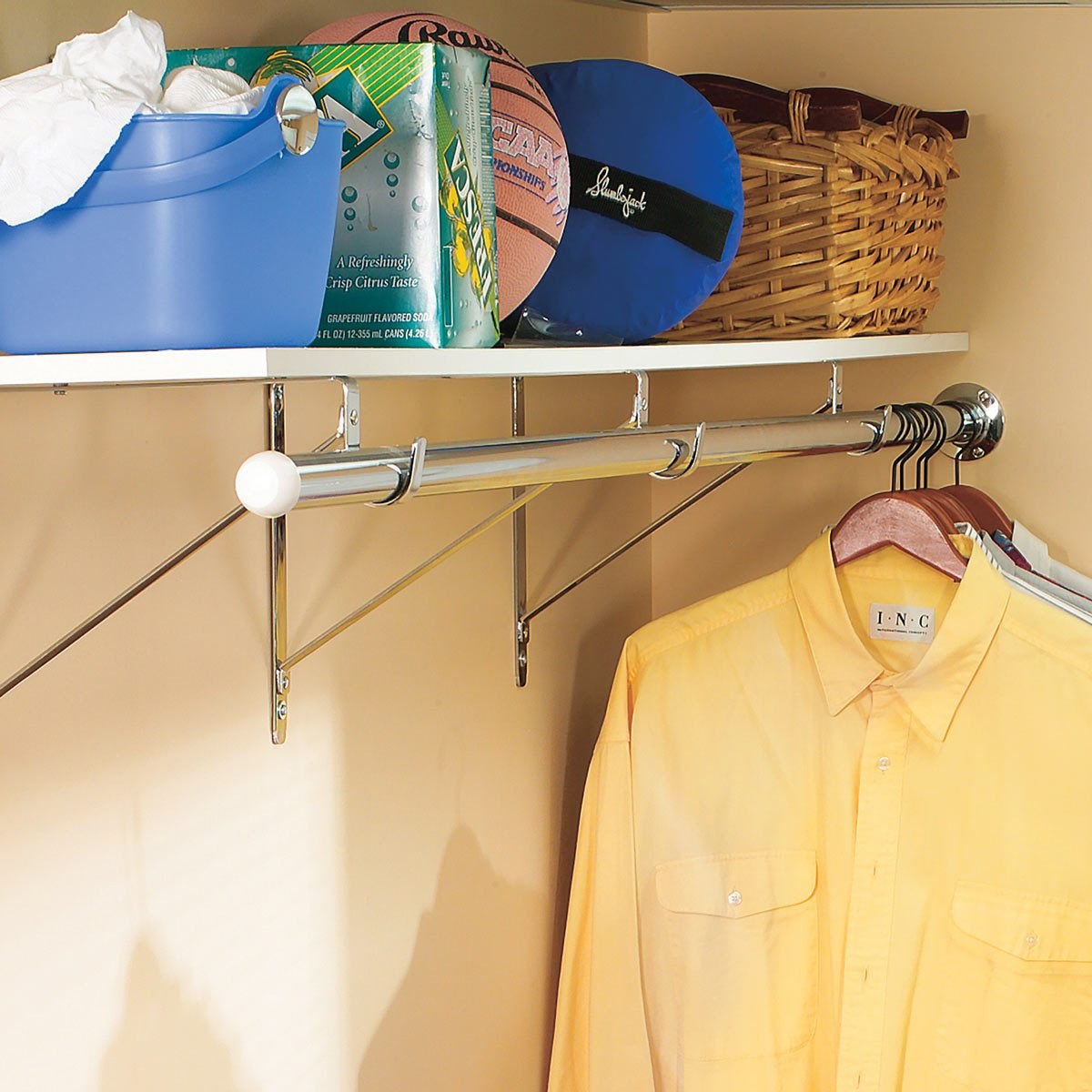 closet rod shelf