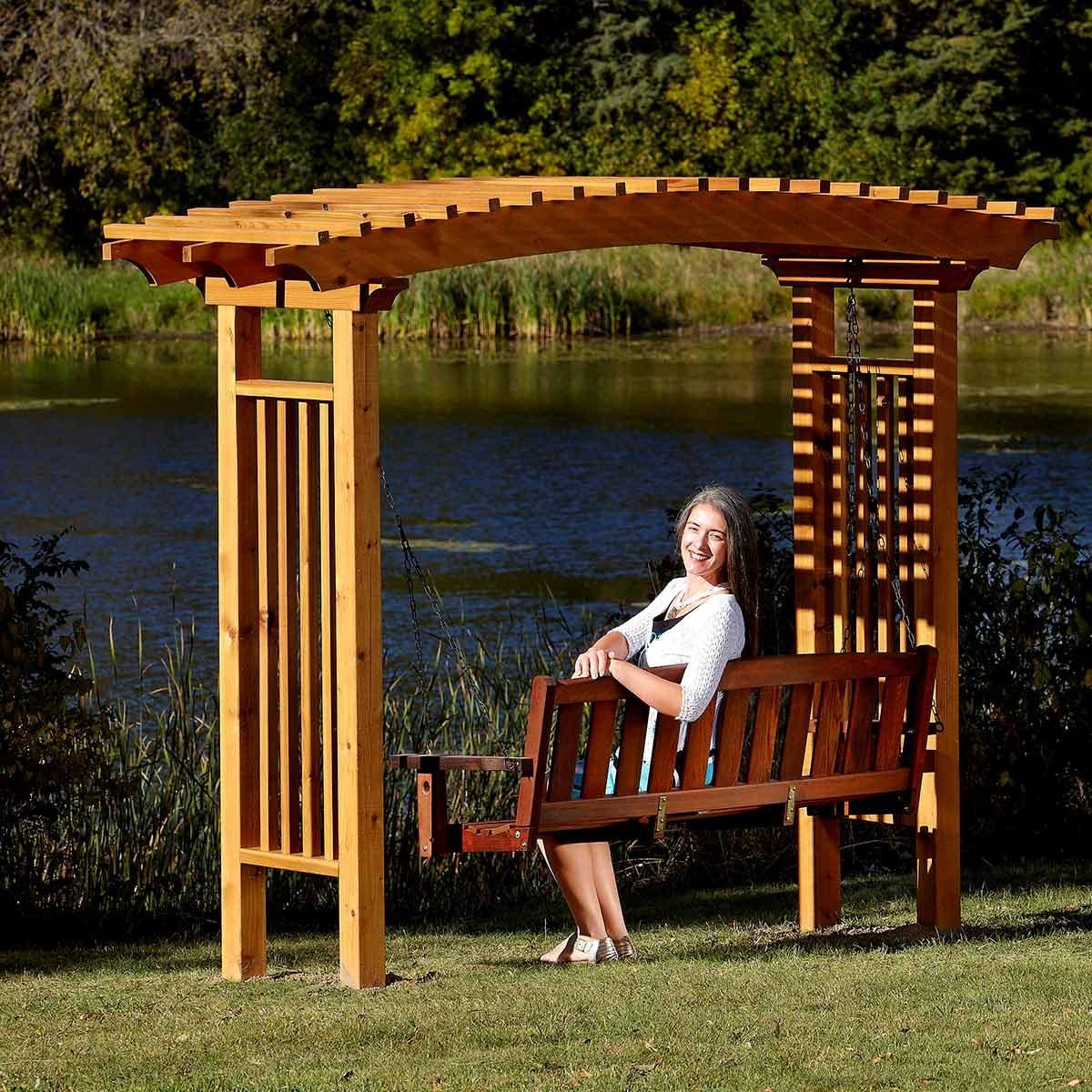 garden arbor with swing