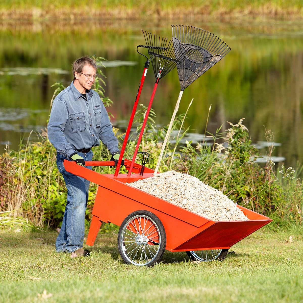 big red garden cart